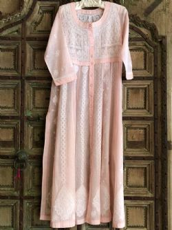 Hand Embroidered Fine Cotton Kaftan Coat